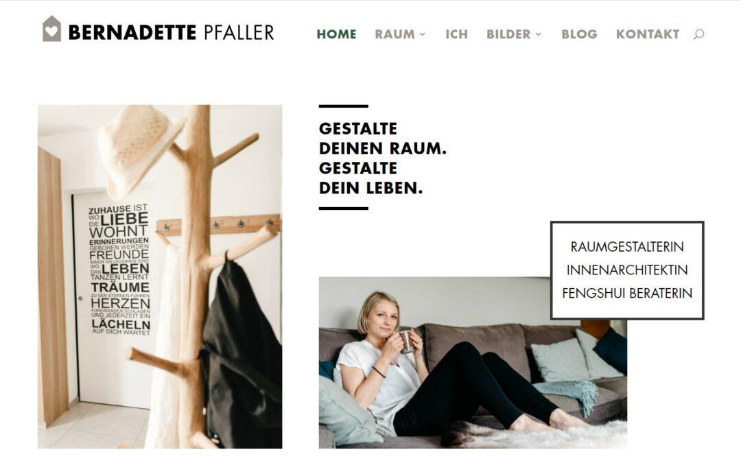Webseite für Bernadette Pfaller – Raumgestalterin, Innenarchitektin, Feng Shui Beraterin